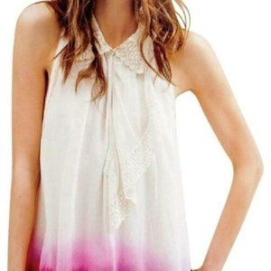 FREE PEOPLE $78 Lace Ombre Ruffle Boho Top S